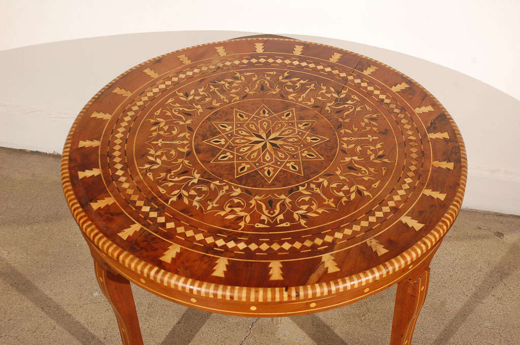 Moroccan Round Coffee Table Inlaid Marquetry At 1stdibs