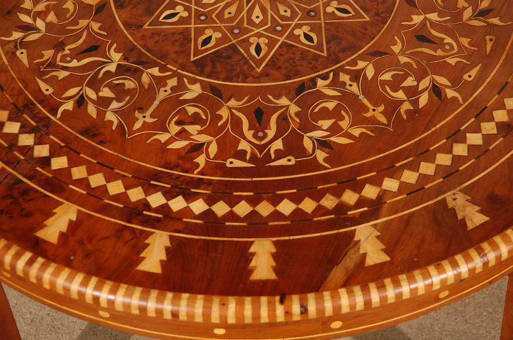 Moroccan Round Coffee Table Inlaid Marquetry 4