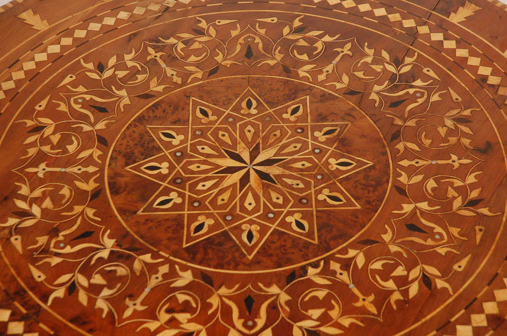 Moroccan Round Coffee Table Inlaid Marquetry 5