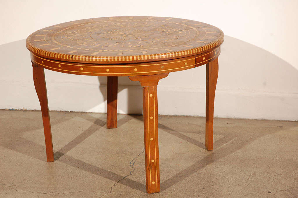 Moroccan Round Coffee Table Inlaid Marquetry 7