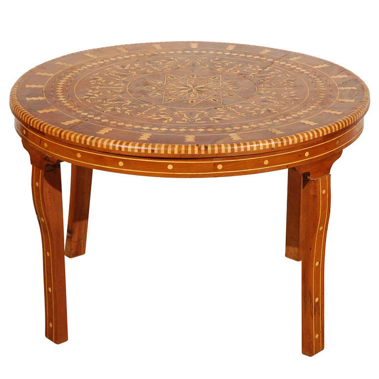 Moroccan round coffee table inlaid marquetry at 1stdibs Moroccan coffee tables