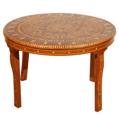 Moroccan Round Coffee Table Inlaid Marquetry