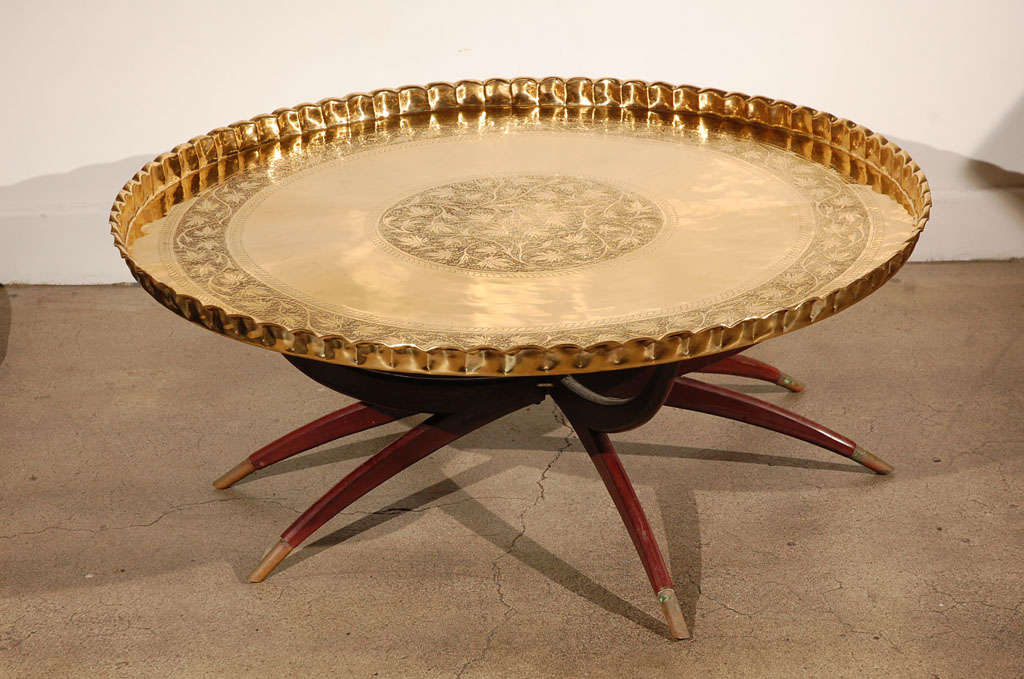 Large Round Brass Tray Table On Folding Stand 45 Quot Diameter
