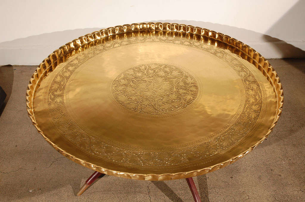 """Large Round Brass Tray Table on Folding Stand 45"""" Diameter 3"""