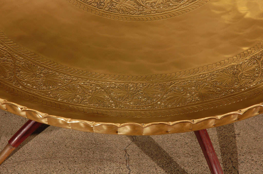 """Large Round Brass Tray Table on Folding Stand 45"""" Diameter 4"""