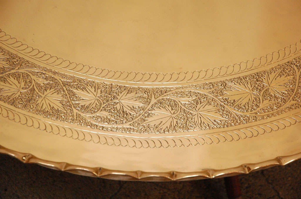 """Large Round Brass Tray Table on Folding Stand 45"""" Diameter 6"""