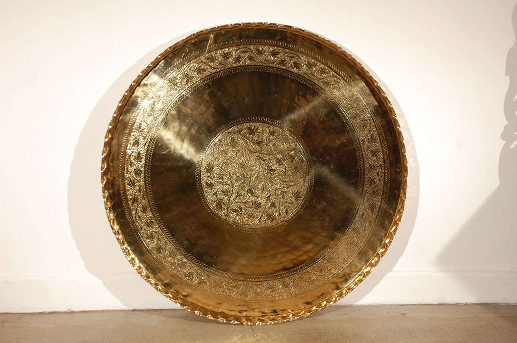 """Large Round Brass Tray Table on Folding Stand 45"""" Diameter 8"""