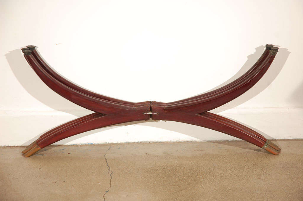 """Large Round Brass Tray Table on Folding Stand 45"""" Diameter 10"""