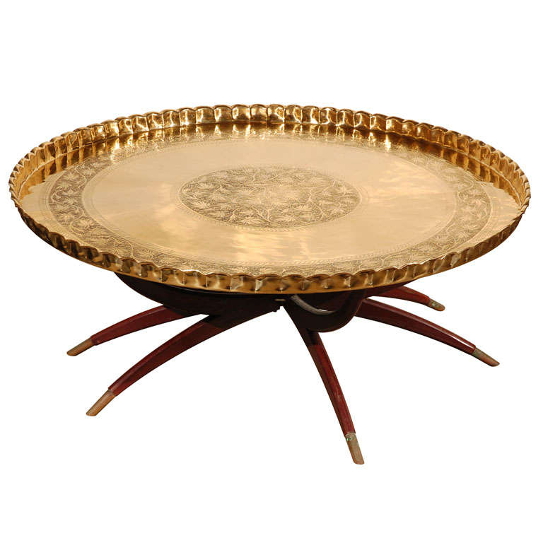 """Large Round Brass Tray Table on Folding Stand 45"""" Diameter 1"""