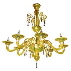 Yellow Green Murano Chandelier