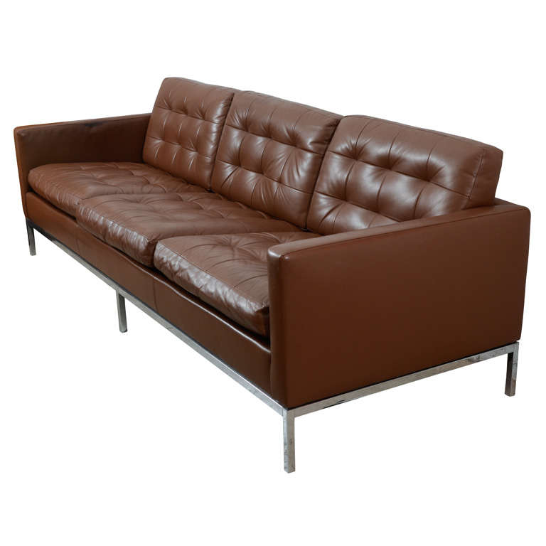 Classic Chocolate Brown Florence Knoll Leather Sofa At 1stdibs