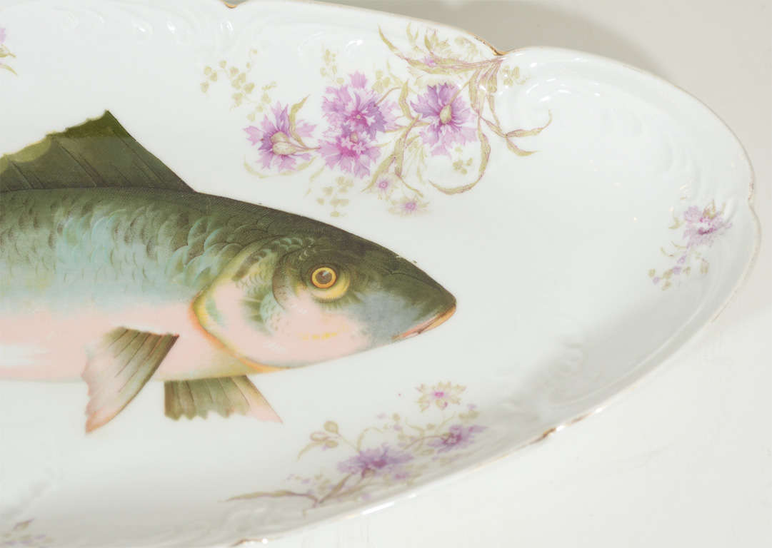 Austrian Art Nouveau LS&S Carlsbad Austria Porcelain Fish Set