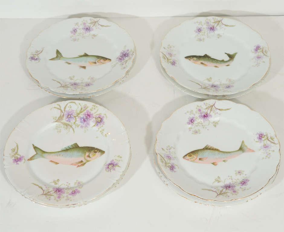 24k Gold Art Nouveau LS&S Carlsbad Austria Porcelain Fish Set