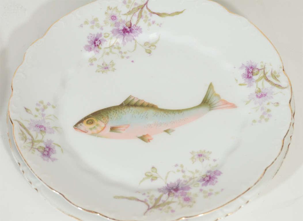 Art Nouveau LS&S Carlsbad Austria Porcelain Fish Set 1