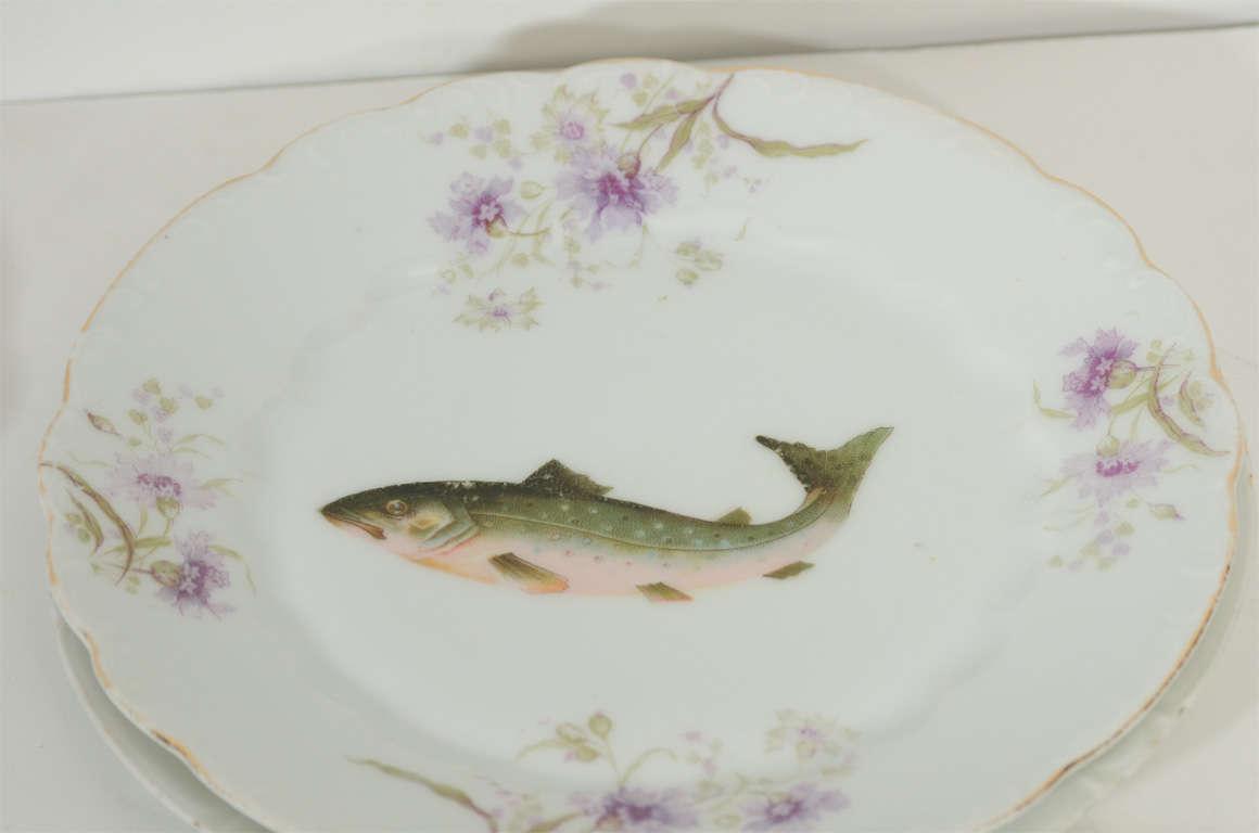 Art Nouveau LS&S Carlsbad Austria Porcelain Fish Set 2