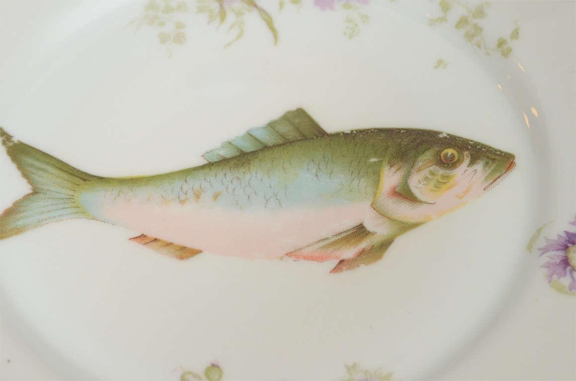 Art Nouveau LS&S Carlsbad Austria Porcelain Fish Set 3