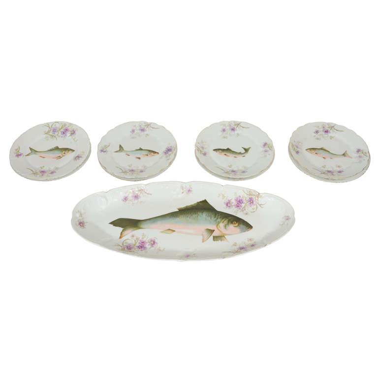 Art Nouveau LS&S Carlsbad Austria Porcelain Fish Set