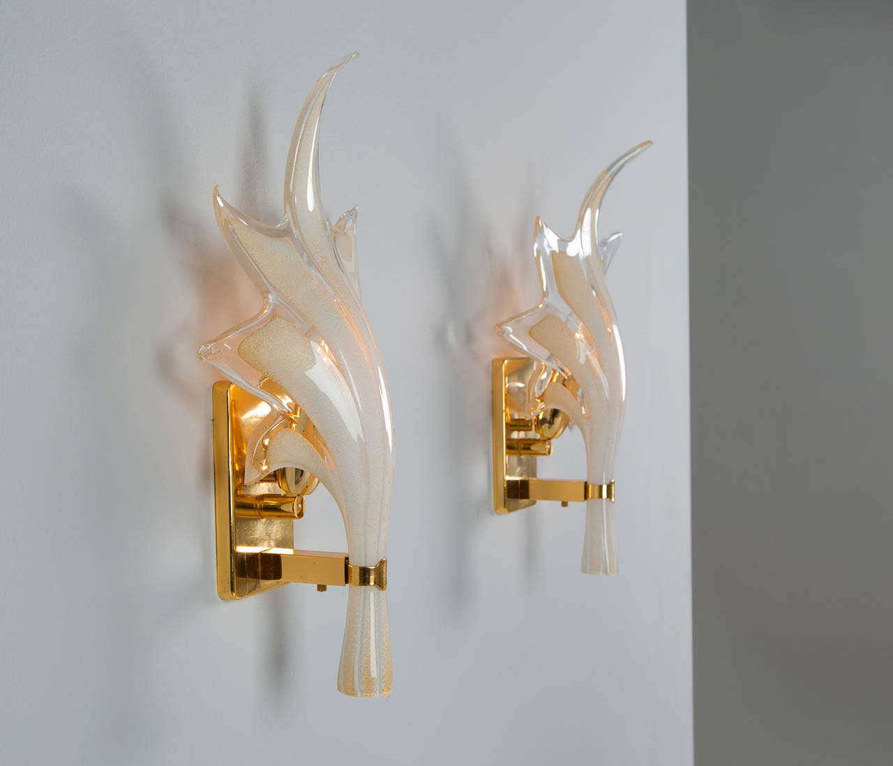Handmade Glass Wall Sconces : Brass Sconces With Handmade Organic Glass Leaves at 1stdibs