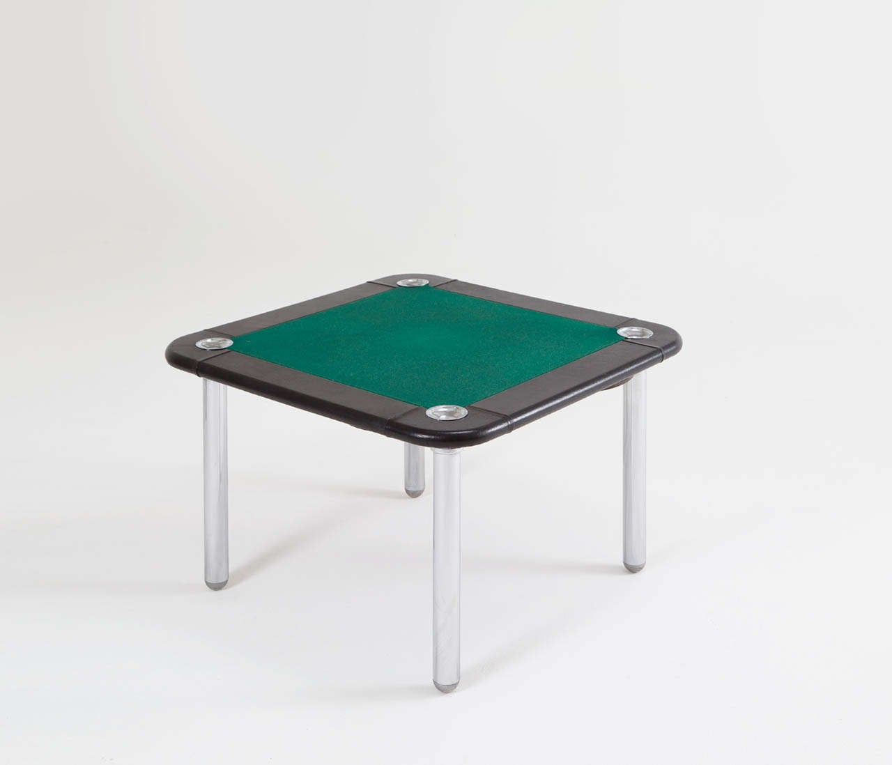 Mid-Century Modern Chrome and Leather Game/Card Table and Chairs For Sale