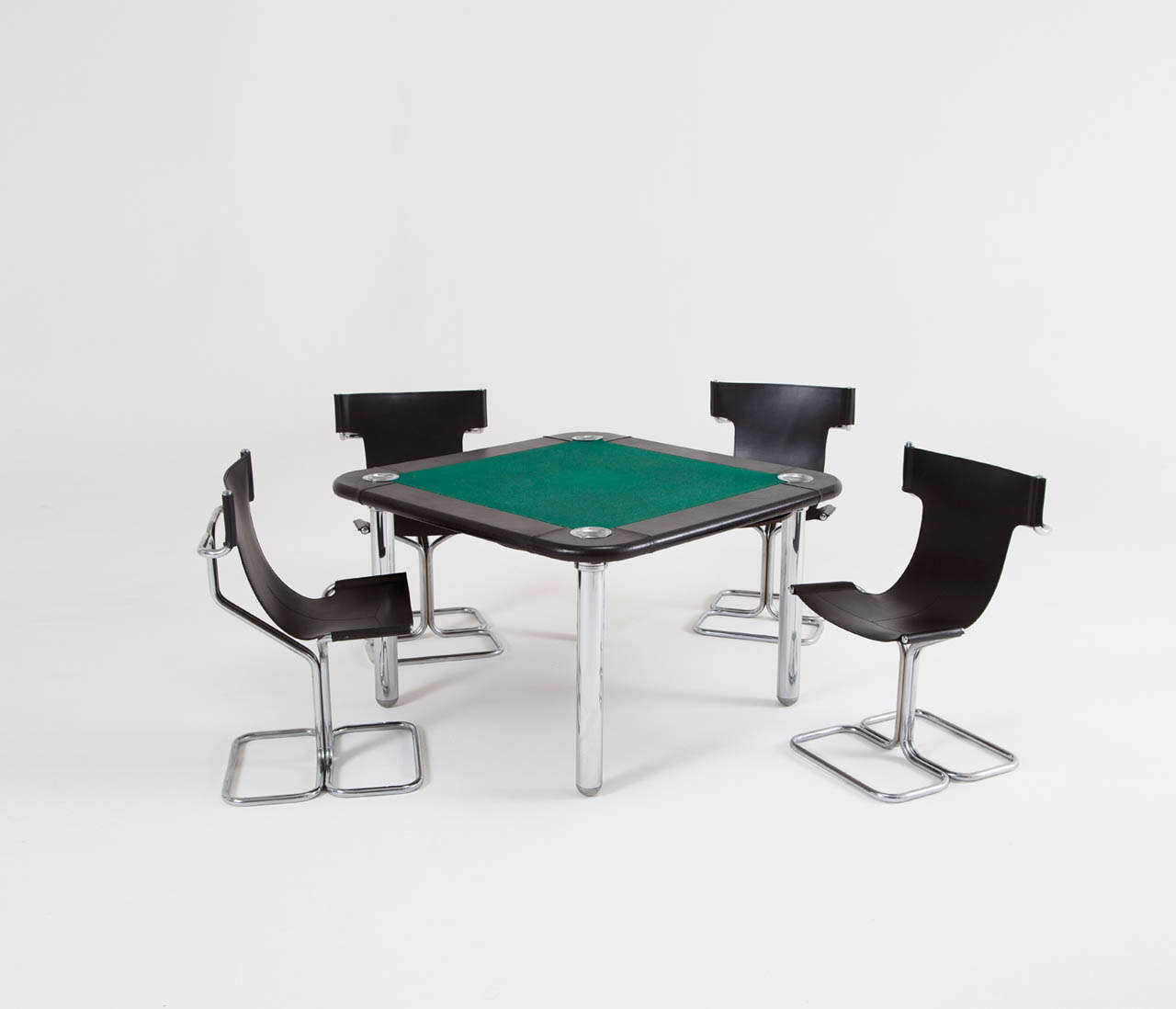 Chrome and Leather Game/Card Table and Chairs For Sale 3