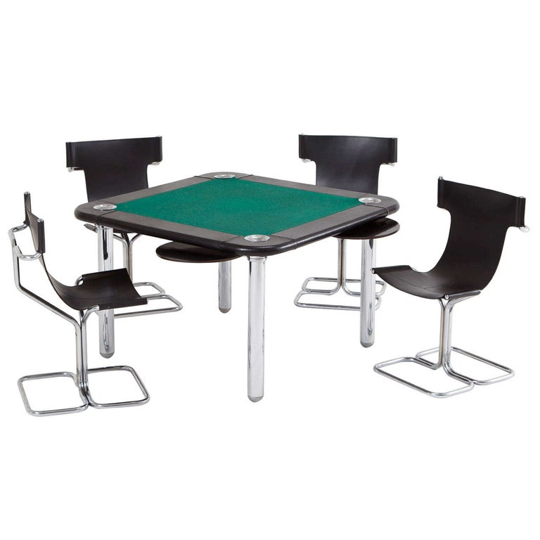 Chrome and Leather Game/Card Table and Chairs For Sale