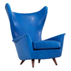 Mid Century Italian Wingback Chair Reupholstered