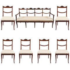 Rare Italian Suite of Six Chairs and Settee, c. 1810