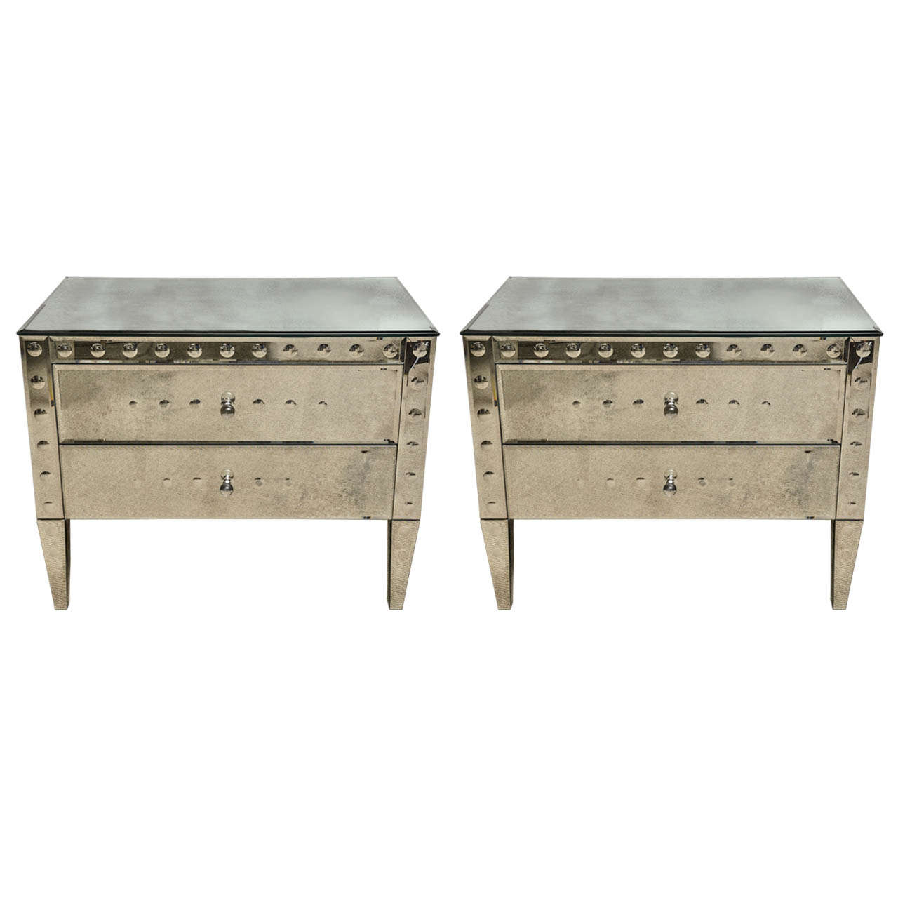 pair of italian exquisitely made mirrored 2 drawer bedside commodes for sale at 1stdibs. Black Bedroom Furniture Sets. Home Design Ideas