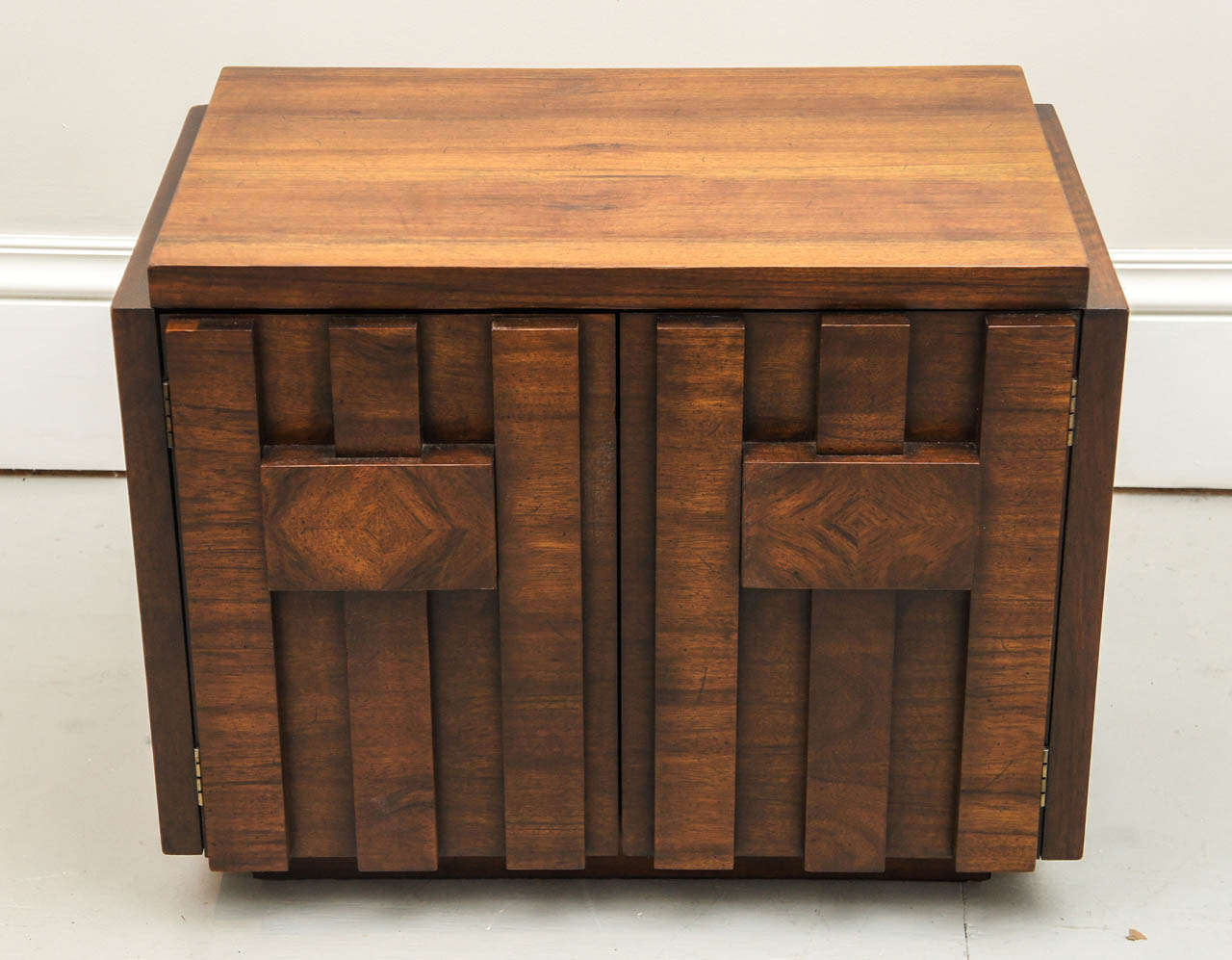 Mid Century Walnut Nightstands By Lane At 1stdibs