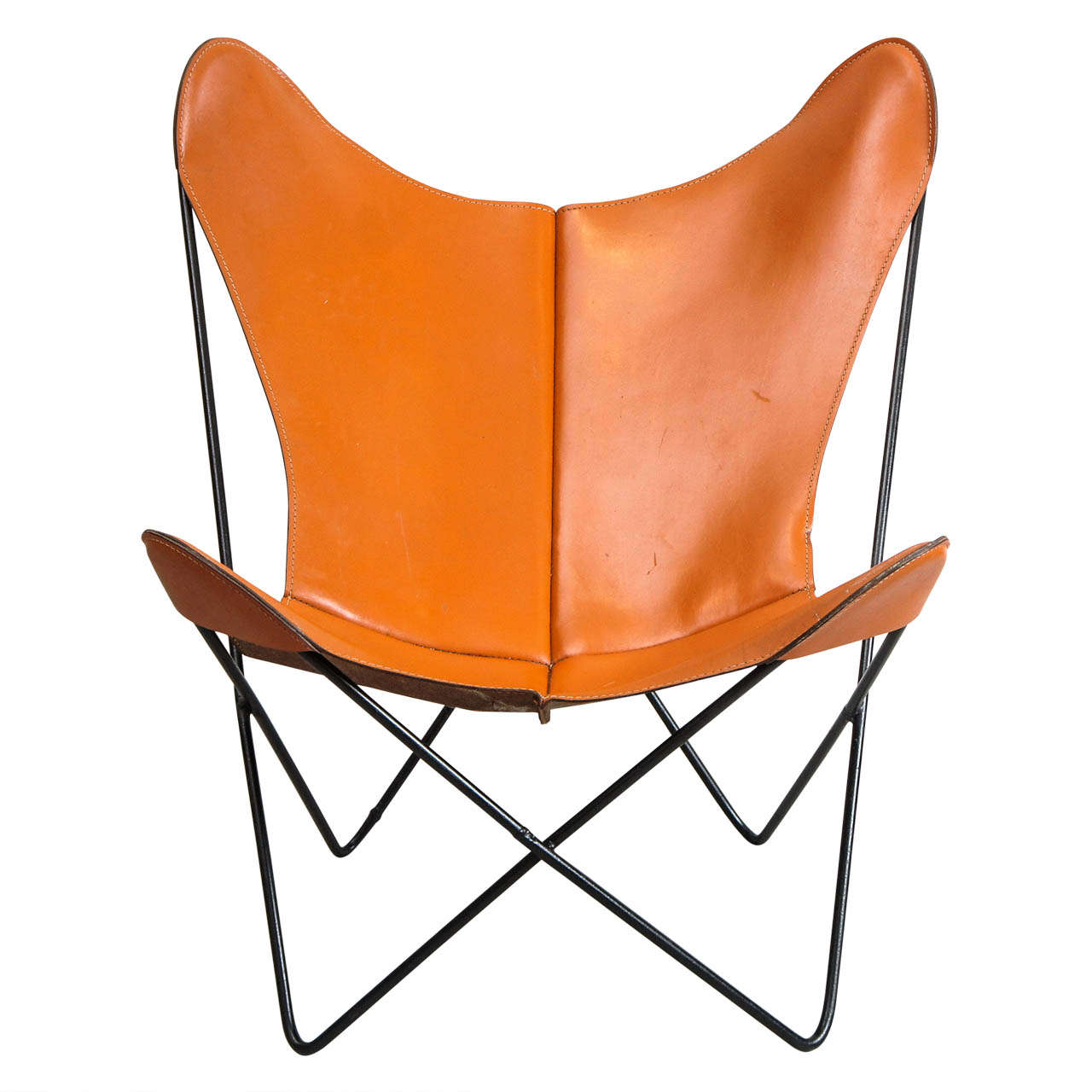 Mid Century Hardoy Butterfly Chair in Leather at 1stdibs