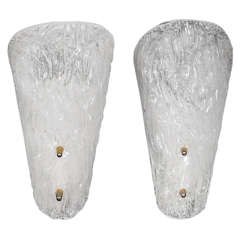 Pair of Molded Glass Sconces, circa 1930s