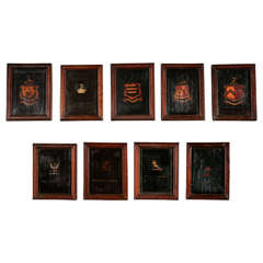 Set of Nine Painted Armorial Panels