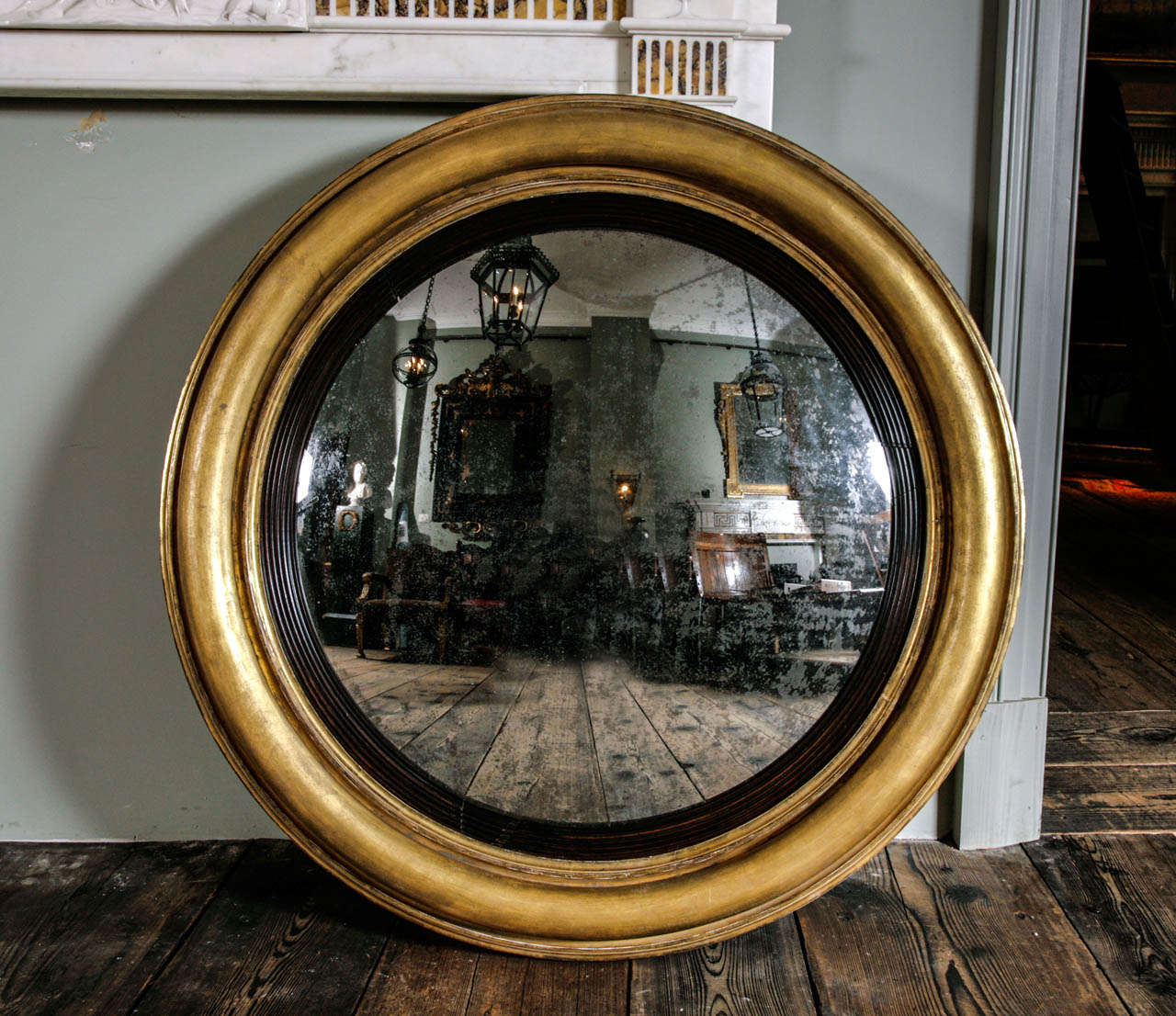 Convex Wall Mirror an extremely large regency giltwood convex wall mirror at 1stdibs