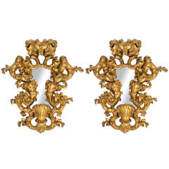 19th Century Pair of Giltwood Italian Mirrors