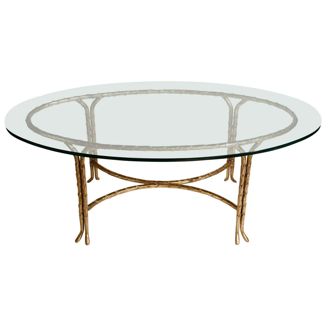 Gold Leafed Maison Bagues Oval Coffee Table At 1stdibs