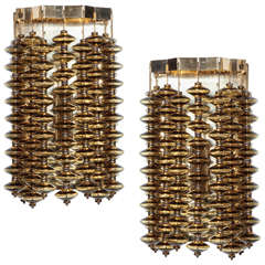 Smoked Amber Glass Strand Sconces by Hans Agne Jakobsson, 2 pairs available