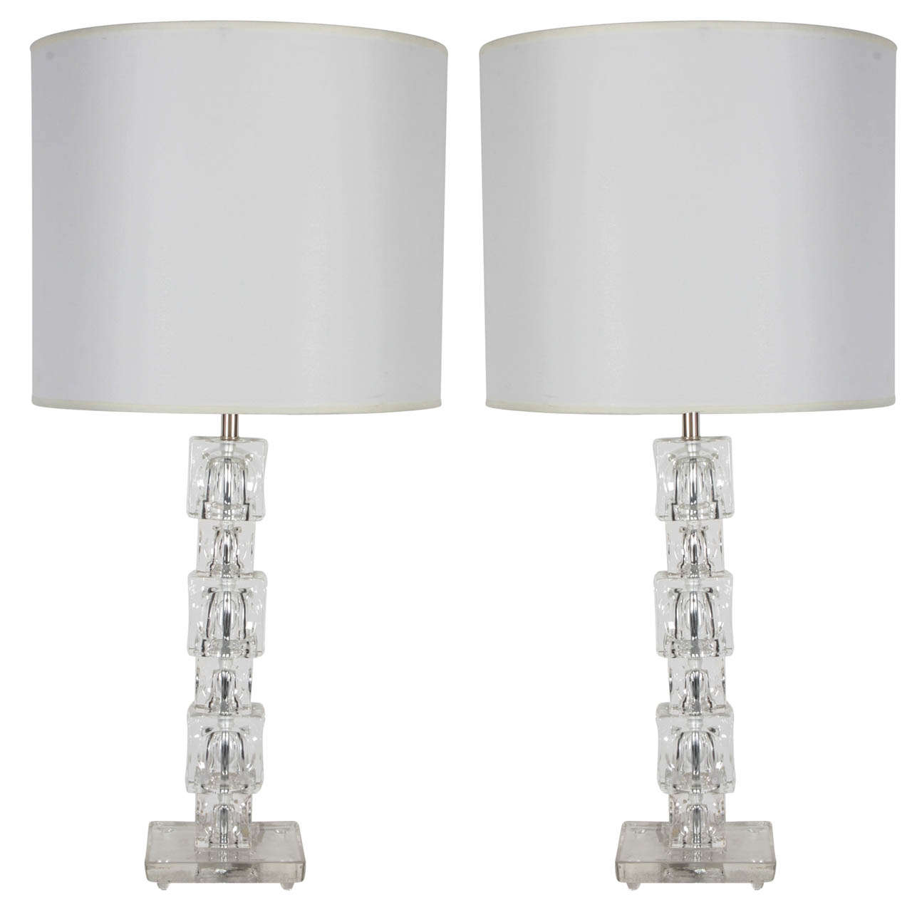 Pair of Stacked Crystal Block Lamps by Orrefors For Sale