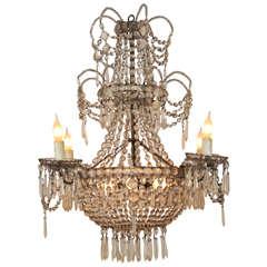 19th Century Seven-Light Crystal Chandelier