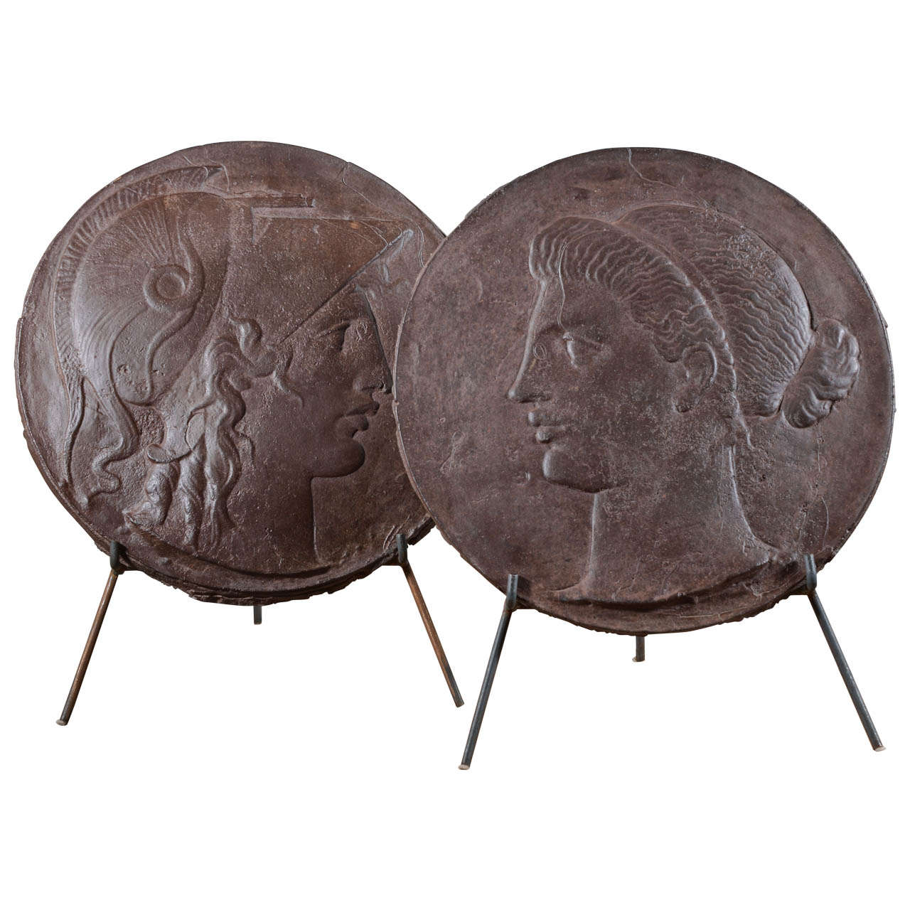 Pair Of Large Iron Medallions On Stands For Sale At 1stdibs