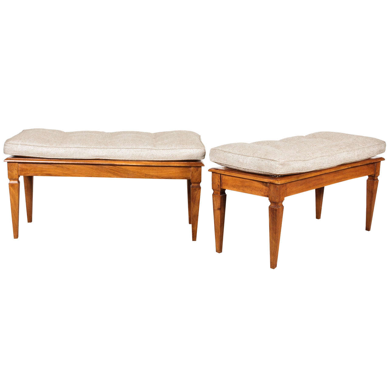 One Walnut Caned Bench With Tufted Cushion At 1stdibs
