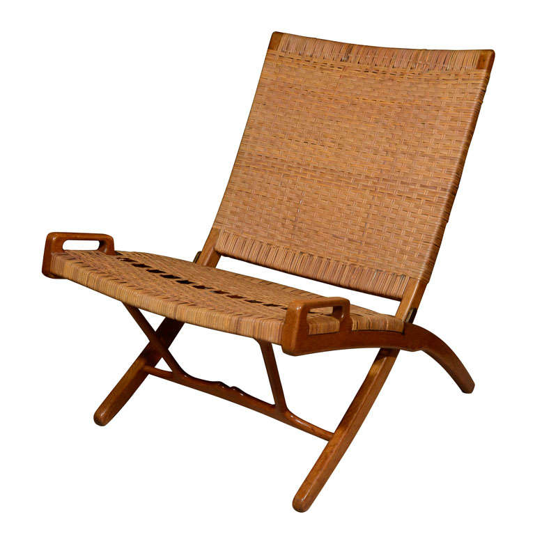 Woven cane folding chair by Hans Wegner at 1stdibs