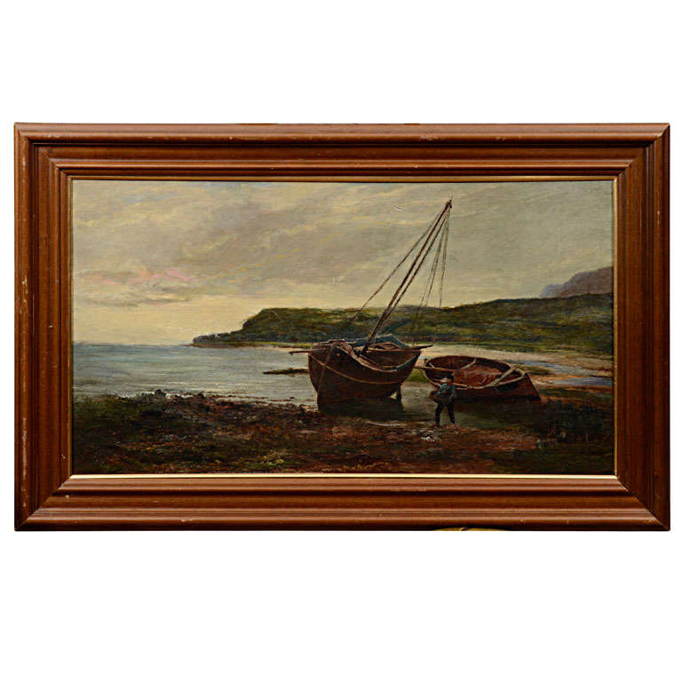 """19th Century Oil on Canvas """"Landing the Catch"""" by Sam Bough R.S.A For Sale"""