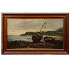 "19th Century Oil on Canvas ""Landing the Catch"" by Sam Bough R.S.A"