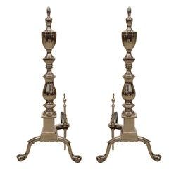 Pair of Large-Scale Hollywood Regency Polished Nickel Andirons
