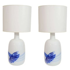 Rare XL size,  Michael Bang White/Blue Glass Lamps