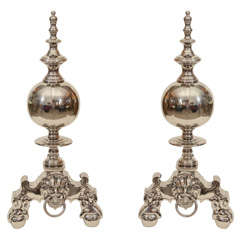 Pair of 1950s Regency Style Andirons with Stylized Lion Heads