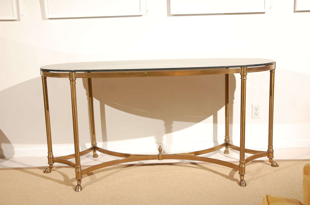 la barge brass console table w hoofed feet and black glass top at 1stdibs. Black Bedroom Furniture Sets. Home Design Ideas