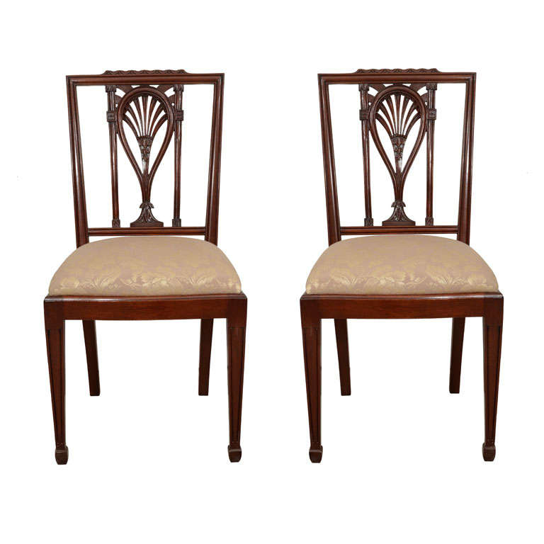 With contemporary armchairs plus black and white fabric dining chairs - Pair Of Two Hepplewhite Style Side Chairs At 1stdibs