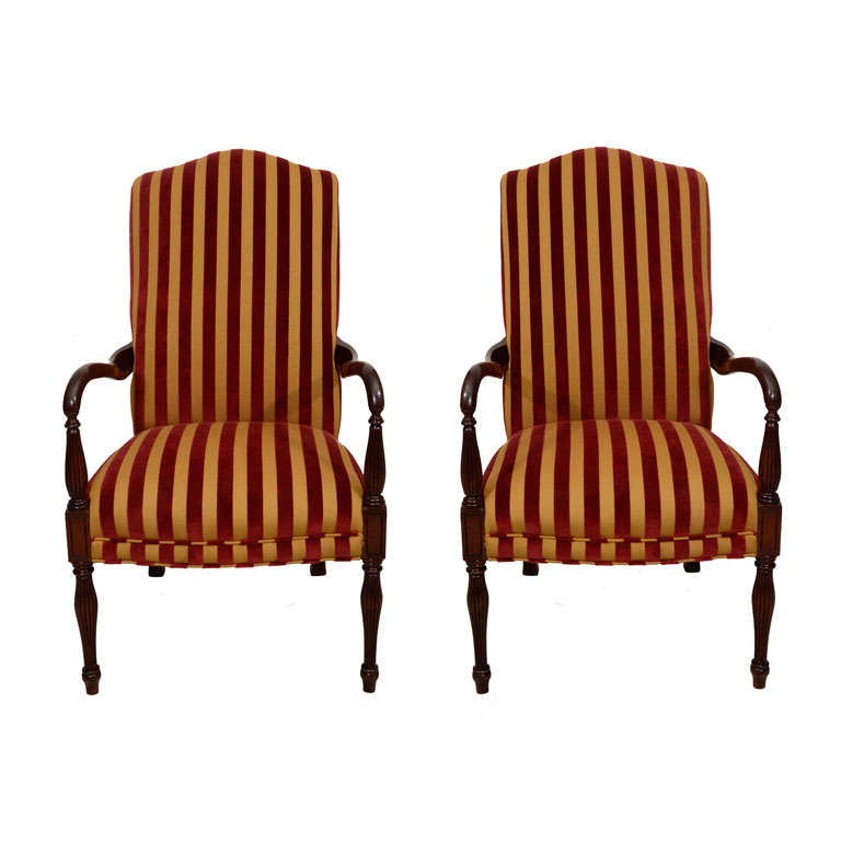 Pair Of Sheraton Style Armchairs At 1stdibs
