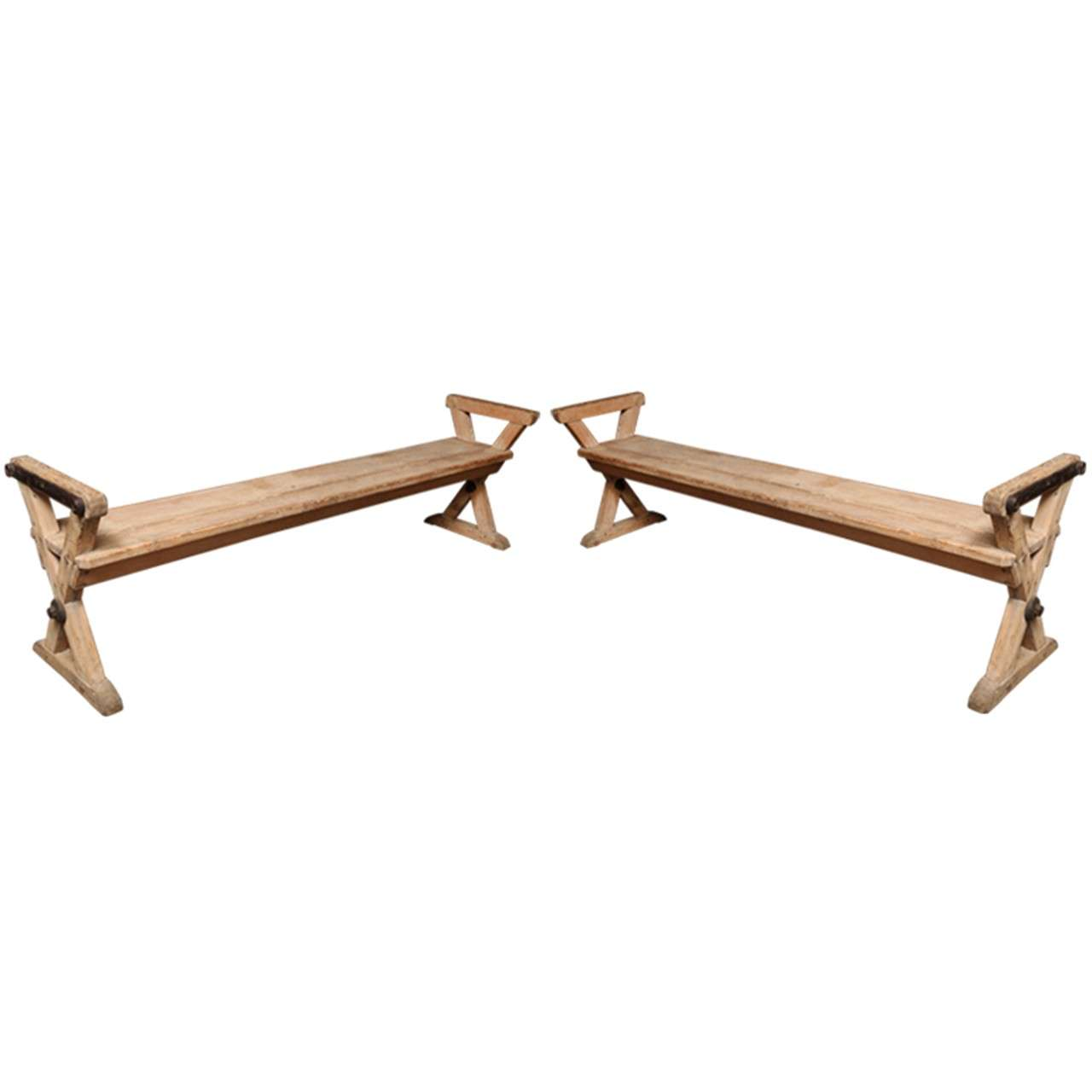 Pair Of Benches With X Base At 1stdibs